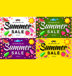 Summer sale template horizontal flat banners vector