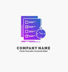 Todo task list check time purple business logo vector