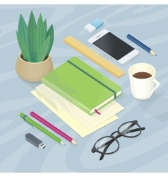 Top View of Workplace with Office Supplies vector image