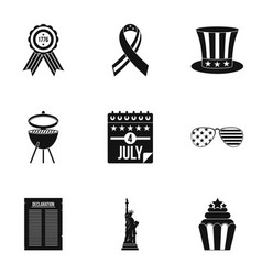 Usa independence day icon set simple style vector