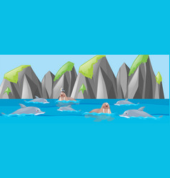 walrus and dolphin in the sea vector image