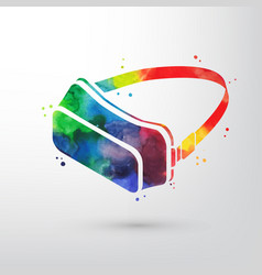 Watercolor virtual reality glasses vr headset vector