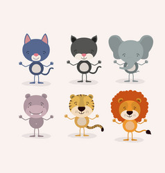 White background withset cute male animals love vector