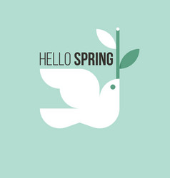 White bird with spring twig on light green vector