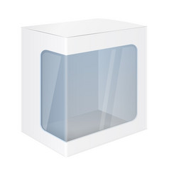White paper box mockup with display window vector