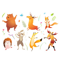 Wild animals forest collection for kids vector
