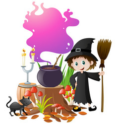 Witch and magic brew in pot vector