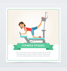 Young woman exercising on trainer gym machine vector