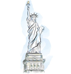 drawing color statue of liberty in new york usa vector image