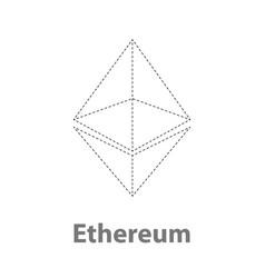 Ethereum thin symbol chrystal vector