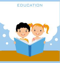 girl and boy reading a book vector image vector image