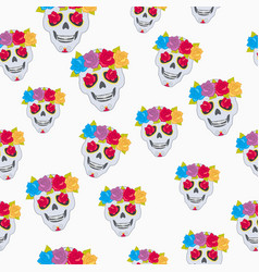Human skull and flower wreath seamless pattern vector