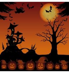 Landscape with pumpkins and Castle - mushroom vector image vector image