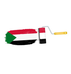 brush stroke with sudan national flag isolated on vector image