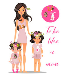 cartoon young mother with daughters vector image
