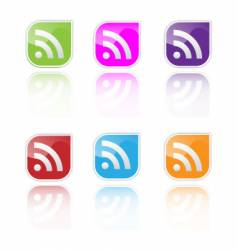 RSS icon set vector image vector image