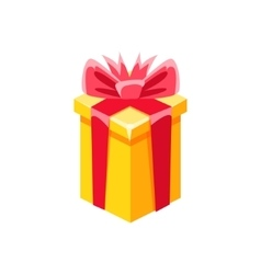 Yellow With Red Bow Gift Box With Present vector image