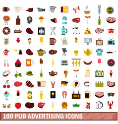 100 pub advertising icons set flat style vector image