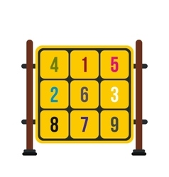 Cubes with numbers on a playground icon vector image