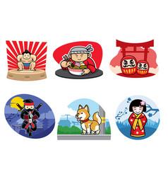 japan badge design set vector image