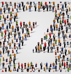 large group of people in letter z form vector image vector image