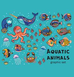 aquatic animals collection vector image