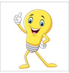 Cartoon funny light bulb pointing his finger vector