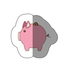 colorful silhouette sticker of pink piggy bank vector image