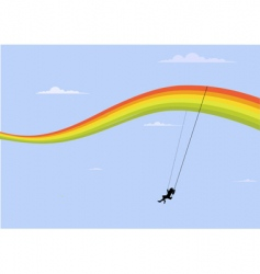 rainbow swing vector image