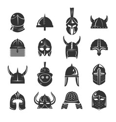 warrior helmets set icons on white background vector image vector image