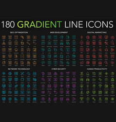 180 trendy gradient style thin line icons set vector image