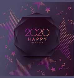 2020 happy new year poster abstract polygonal vector