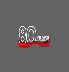 80 years anniversary line style white color vector