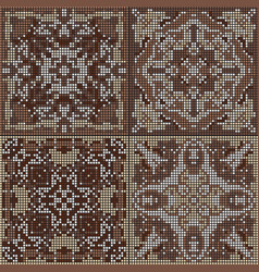 A collection of ceramic tiles in brown retro vector
