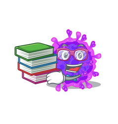A diligent student in alpha coronavirus with book vector