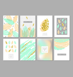 Abstract design cards set in gold glitter vector