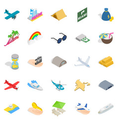 Aeronautic icons set isometric style vector
