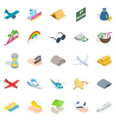 aeronautic icons set isometric style vector image