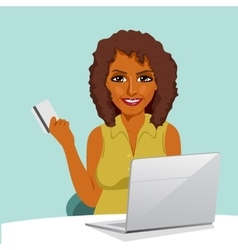 african american woman with laptop shopping online vector image