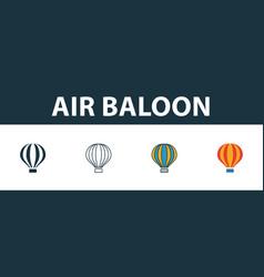 Air ballon icon set four simple symbols in vector