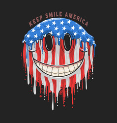 america usa flag smile emoticon emoji artwork vector image