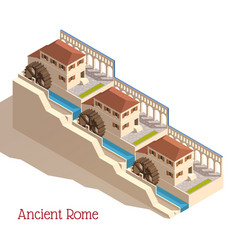 Ancient rome isometric watermills vector