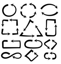 Arrows combinations simple and complex black vector