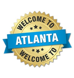 Atlanta 3d gold badge with blue ribbon vector