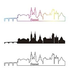 Basel skyline linear style with rainbow vector