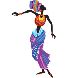 beautiful african woman in ethnic dress vector image