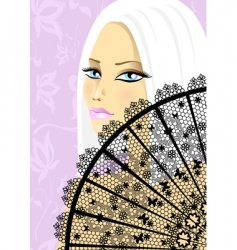 beautiful girl with fan vector image