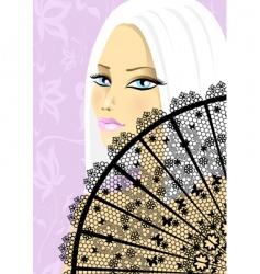Beautiful girl with fan vector