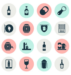 beverages icons set with tap glass of wine elite vector image