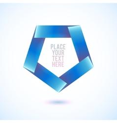 Blue penthagon shape on white background vector image